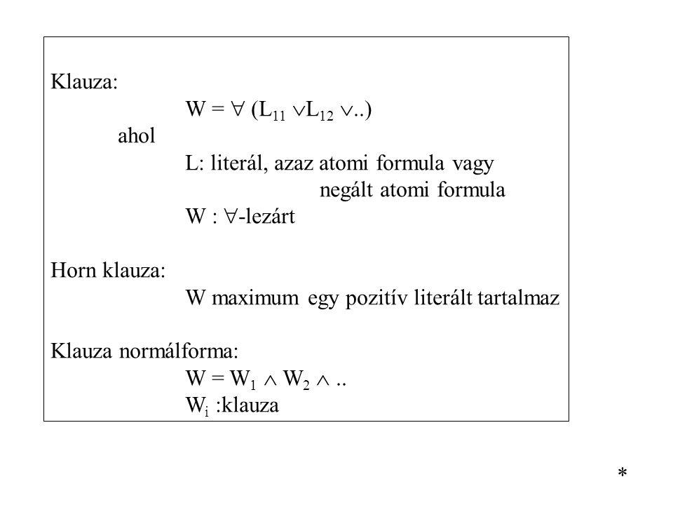 Klauza: W =  (L 11  L 12 ..) ahol L: literál, azaz atomi formula vagy negált atomi formula W :  -lezárt Horn klauza: W maximum egy pozitív literál
