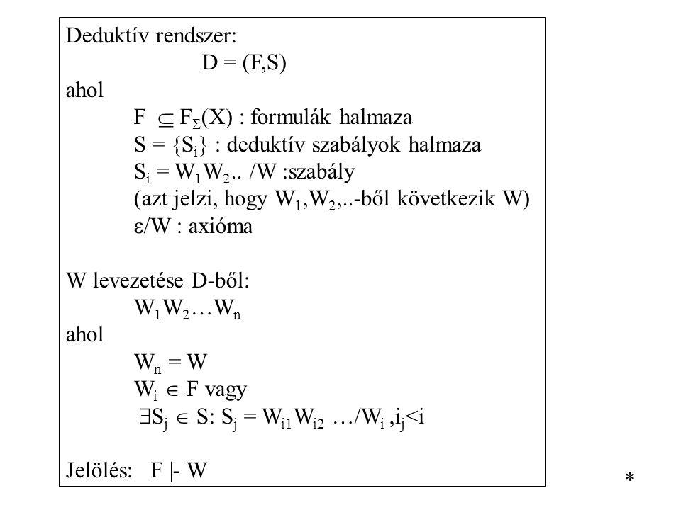Deduktív rendszer: D = (F,S) ahol F  F  (X) : formulák halmaza S = {S i } : deduktív szabályok halmaza S i = W 1 W 2.. /W :szabály (azt jelzi, hogy