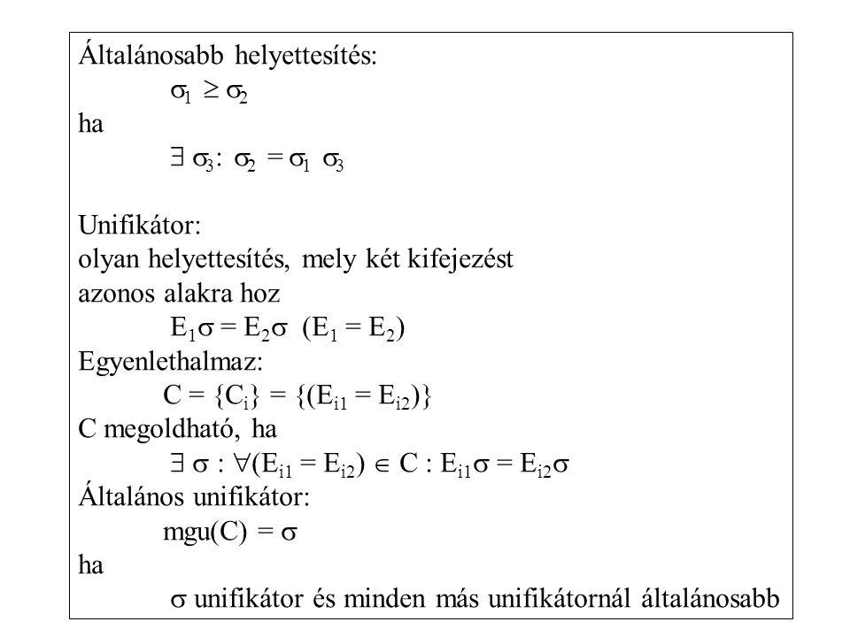 Általánosabb helyettesítés:  1   2 ha   3 :  2 =  1  3 Unifikátor: olyan helyettesítés, mely két kifejezést azonos alakra hoz E 1  = E 2  (E