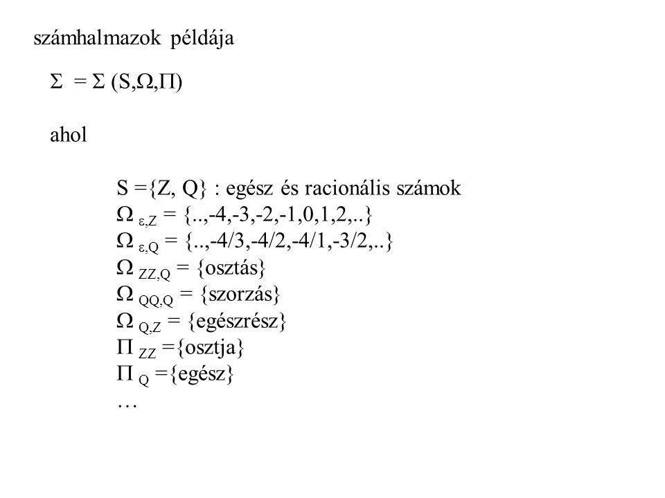 számhalmazok példája  =  (S, ,  ) ahol S ={Z, Q} : egész és racionális számok  ,Z = {..,-4,-3,-2,-1,0,1,2,..}  ,Q = {..,-4/3,-4/2,-4/1,-3/2,..