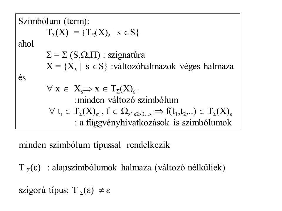 Szimbólum (term): T  (X) = {T  (X) s | s  S} ahol  =  (S, ,  ) : szignatúra X = {X s | s  S} :változóhalmazok véges halmaza és  x  X s  x 