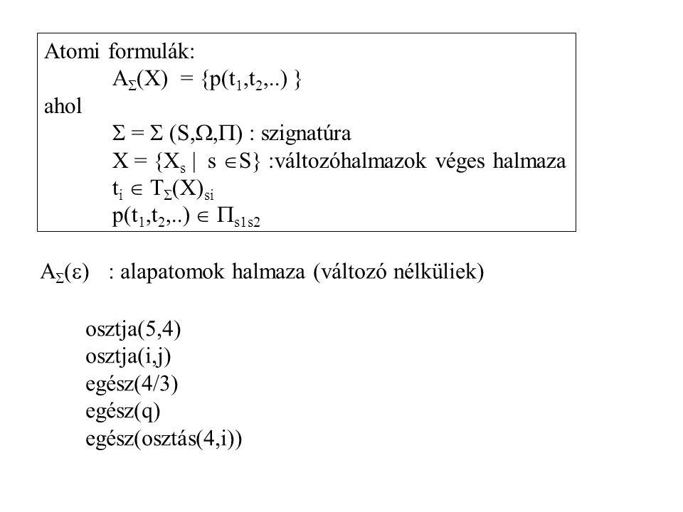 Atomi formulák: A  (X) = {p(t 1,t 2,..) } ahol  =  (S, ,  ) : szignatúra X = {X s | s  S} :változóhalmazok véges halmaza t i  T  (X) si p(t 1,