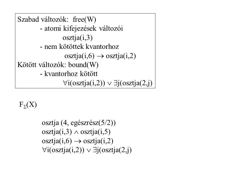 F  (X) osztja (4, egészrész(5/2)) osztja(i,3)  osztja(i,5) osztja(i,6)  osztja(i,2)  i(osztja(i,2))   j(osztja(2,j) Szabad változók: free(W) - a