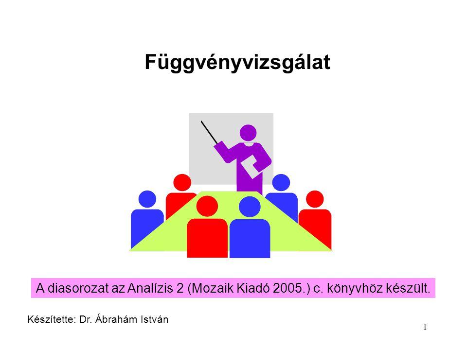 1 Függvényvizsgálat Készítette: Dr. Ábrahám István A diasorozat az Analízis 2 (Mozaik Kiadó 2005.) c. könyvhöz készült.