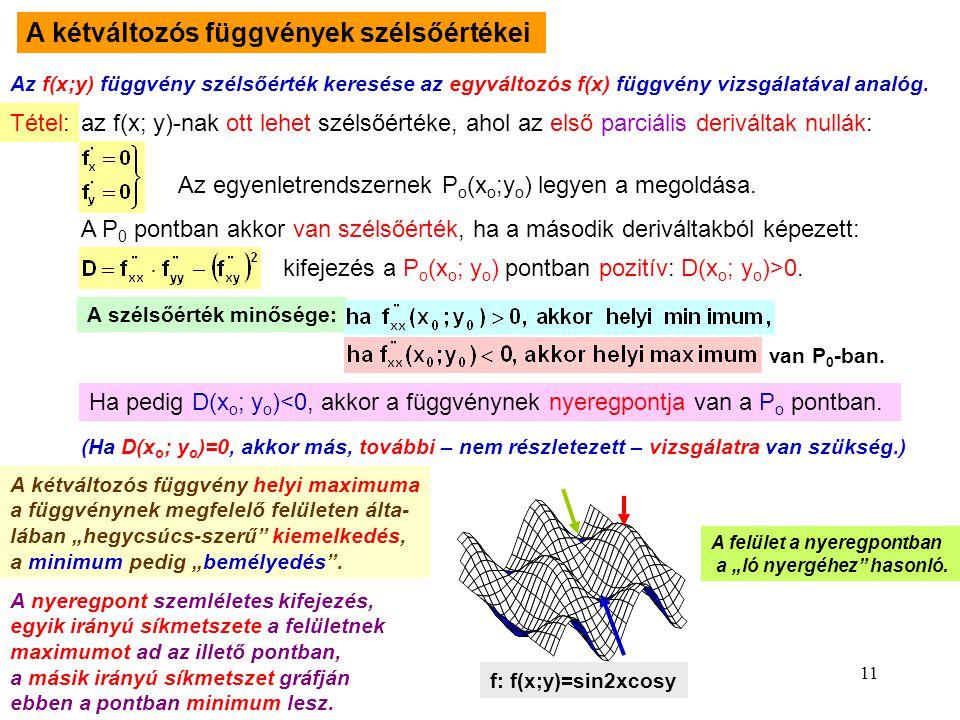 11 A kétváltozós függvények szélsőértékei Az f(x;y) függvény szélsőérték keresése az egyváltozós f(x) függvény vizsgálatával analóg. Tétel: az f(x; y)