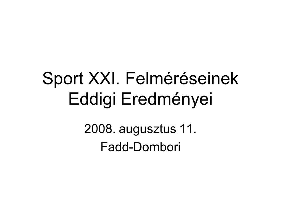 Sport XXI. Felméréseinek Eddigi Eredményei 2008. augusztus 11. Fadd-Dombori