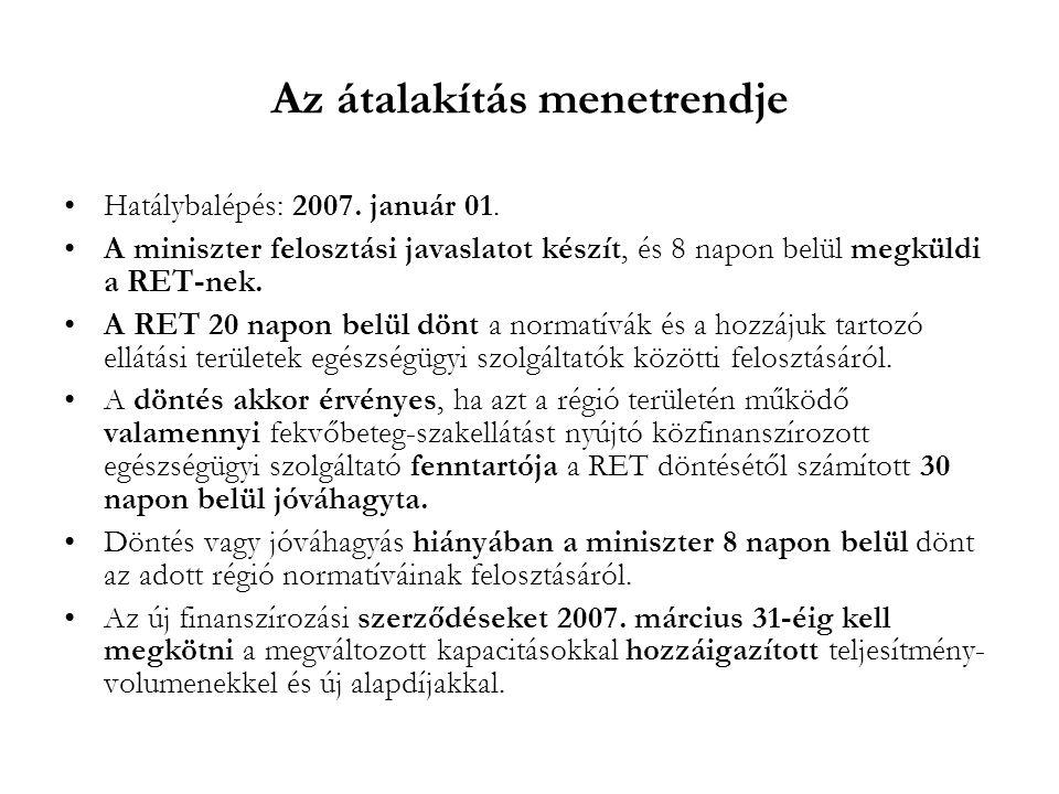 Az átalakítás menetrendje •Hatálybalépés: 2007. január 01. •A miniszter felosztási javaslatot készít, és 8 napon belül megküldi a RET-nek. •A RET 20 n