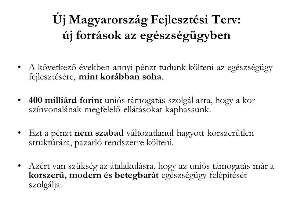 Új Magyarország Fejlesztési Terv: új források az egészségügyben •A következő években annyi pénzt tudunk költeni az egészségügy fejlesztésére, mint kor