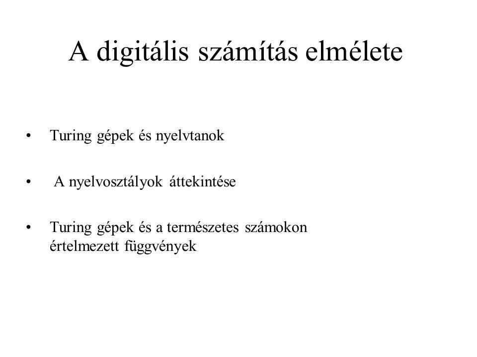 A digitális számítás elmélete •Turing gépek és nyelvtanok • A nyelvosztályok áttekintése •Turing gépek és a természetes számokon értelmezett függvénye