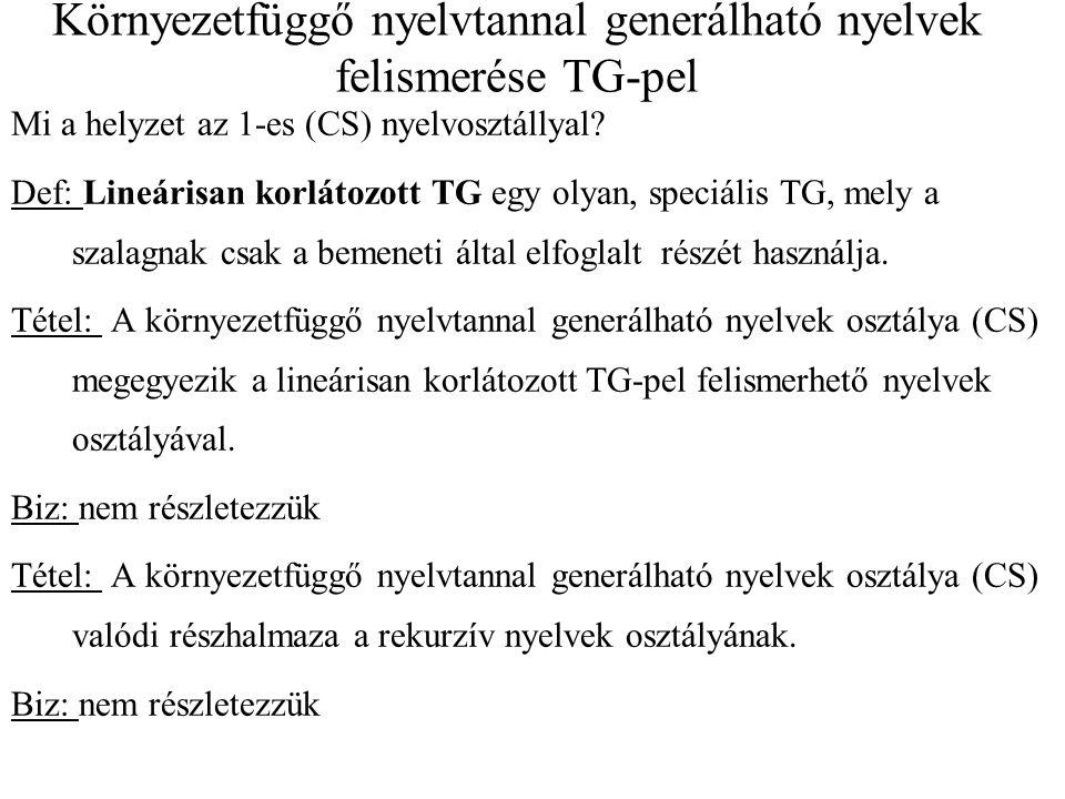 Környezetfüggő nyelvtannal generálható nyelvek felismerése TG-pel Mi a helyzet az 1-es (CS) nyelvosztállyal? Def: Lineárisan korlátozott TG egy olyan,