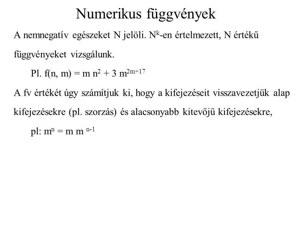 Numerikus függvények A nemnegatív egészeket N jelöli. N k -en értelmezett, N értékű függvényeket vizsgálunk. Pl. f(n, m) = m n 2 + 3 m 2m+17 A fv érté