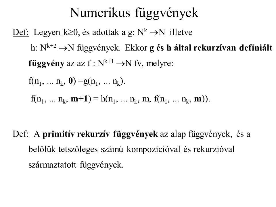 Numerikus függvények Def: Legyen k  0, és adottak a g: N k  N illetve h: N k+2  N függvények. Ekkor g és h által rekurzívan definiált függvény az a