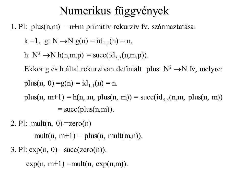 Numerikus függvények 1. Pl: plus(n,m) = n+m primitív rekurzív fv. származtatása: k =1, g: N  N g(n) = id 1,1 (n) = n, h: N 3  N h(n,m,p) = succ(id 3