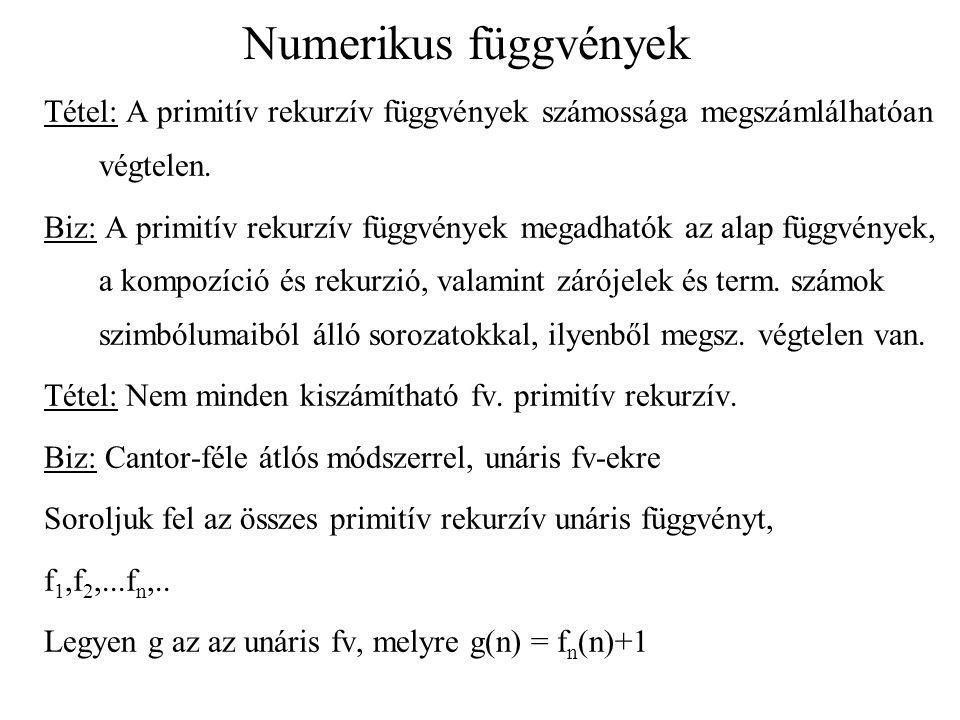 Numerikus függvények Tétel: A primitív rekurzív függvények számossága megszámlálhatóan végtelen. Biz: A primitív rekurzív függvények megadhatók az ala