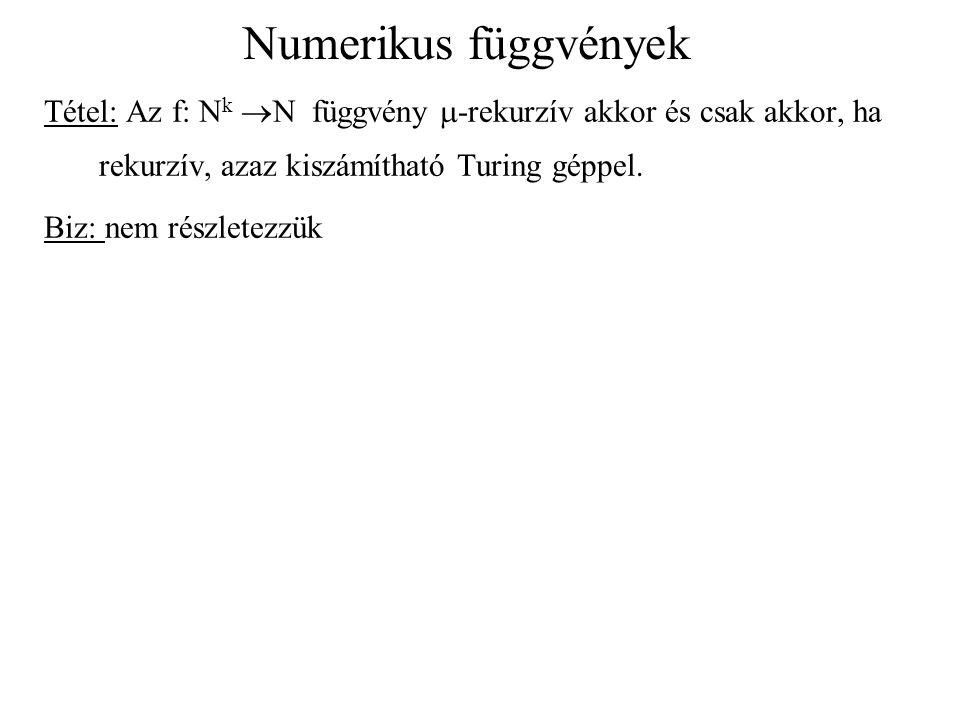 Numerikus függvények Tétel: Az f: N k  N függvény  -rekurzív akkor és csak akkor, ha rekurzív, azaz kiszámítható Turing géppel. Biz: nem részletezzü
