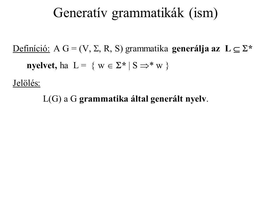 Generatív grammatikák (ism) Definíció: A G = (V, , R, S) grammatika generálja az L   * nyelvet, ha L =  w   *  S  * w  Jelölés: L(G) a G gram