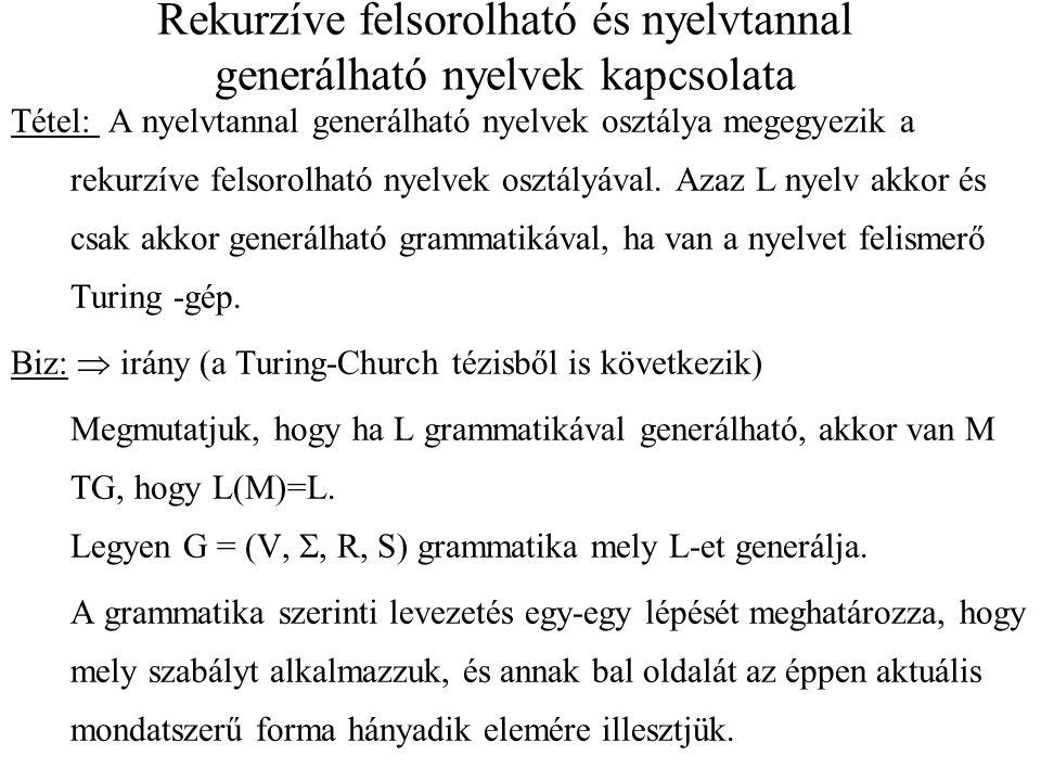 Rekurzíve felsorolható és nyelvtannal generálható nyelvek kapcsolata Tétel: A nyelvtannal generálható nyelvek osztálya megegyezik a rekurzíve felsorol