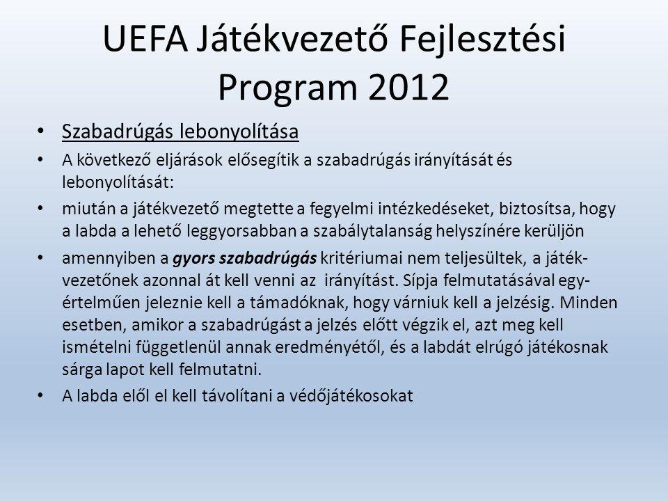 UEFA Játékvezető Fejlesztési Program 2012 • Szabadrúgás lebonyolítása • A következő eljárások elősegítik a szabadrúgás irányítását és lebonyolítását: