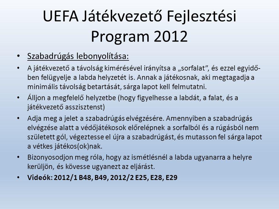 """UEFA Játékvezető Fejlesztési Program 2012 • Szabadrúgás lebonyolítása: • A játékvezető a távolság kimérésével irányítsa a """"sorfalat"""", és ezzel egyidő-"""