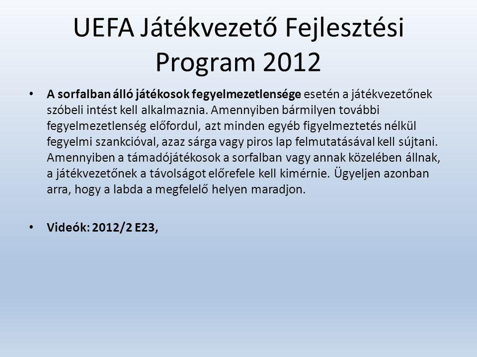 UEFA Játékvezető Fejlesztési Program 2012 • A sorfalban álló játékosok fegyelmezetlensége esetén a játékvezetőnek szóbeli intést kell alkalmaznia. Ame