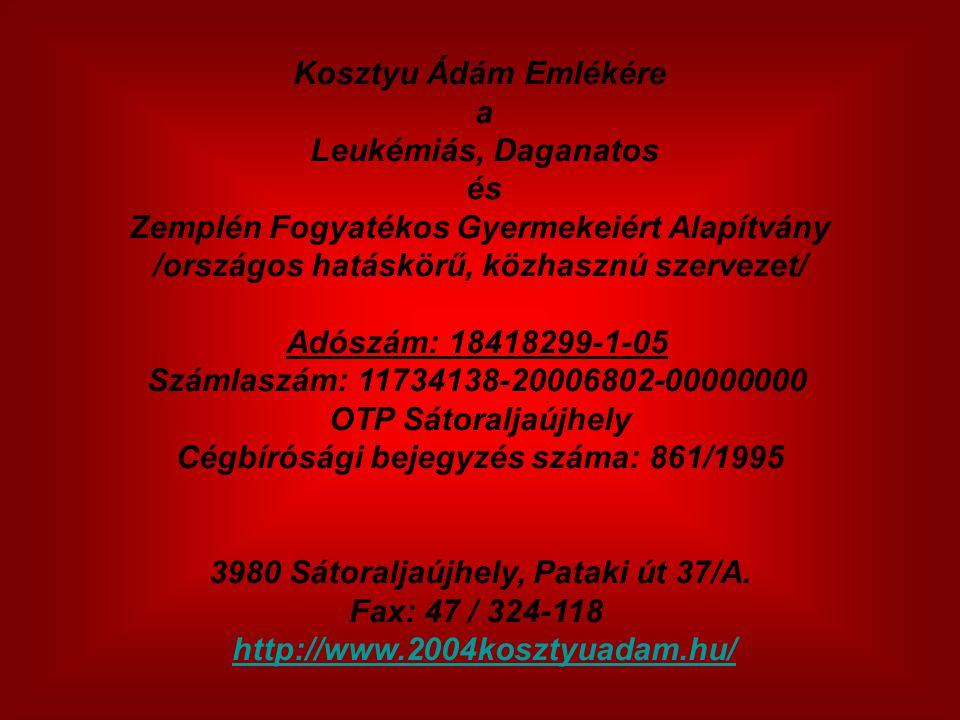 Kosztyu Ádám Emlékére a Leukémiás, Daganatos és Zemplén Fogyatékos Gyermekeiért Alapítvány /országos hatáskörű, közhasznú szervezet/ Adószám: 18418299