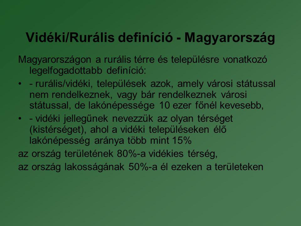 Vidéki/Rurális definíció - Magyarország Magyarországon a rurális térre és településre vonatkozó legelfogadottabb definíció: •- rurális/vidéki, települések azok, amely városi státussal nem rendelkeznek, vagy bár rendelkeznek városi státussal, de lakónépessége 10 ezer főnél kevesebb, •- vidéki jellegűnek nevezzük az olyan térséget (kistérséget), ahol a vidéki településeken élő lakónépesség aránya több mint 15% az ország területének 80%-a vidékies térség, az ország lakosságának 50%-a él ezeken a területeken