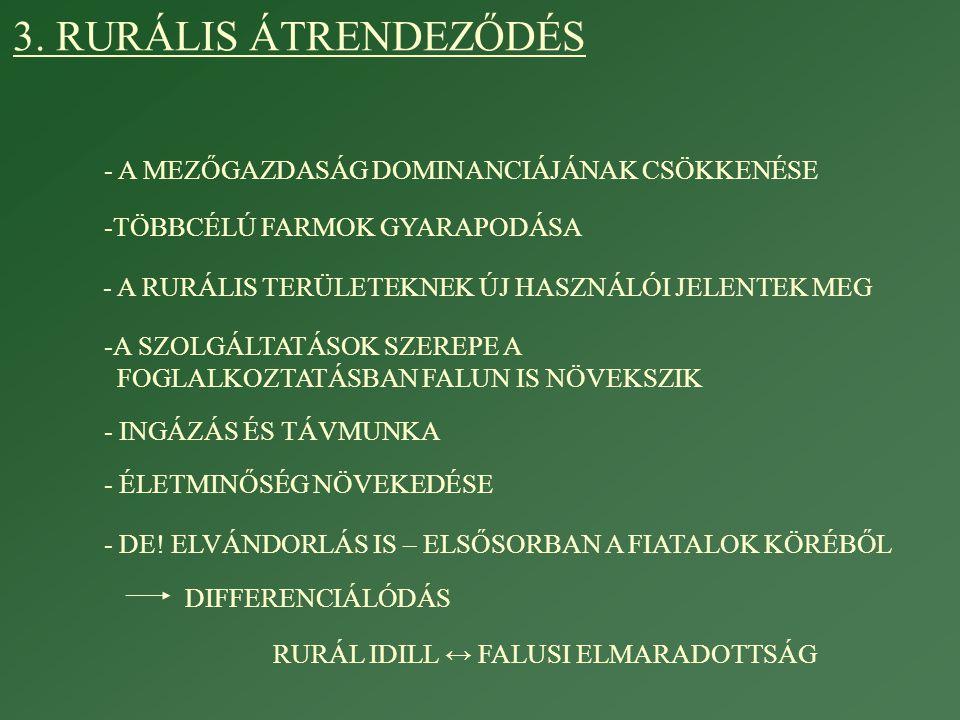 3. RURÁLIS ÁTRENDEZŐDÉS - A MEZŐGAZDASÁG DOMINANCIÁJÁNAK CSÖKKENÉSE -TÖBBCÉLÚ FARMOK GYARAPODÁSA -A SZOLGÁLTATÁSOK SZEREPE A FOGLALKOZTATÁSBAN FALUN I