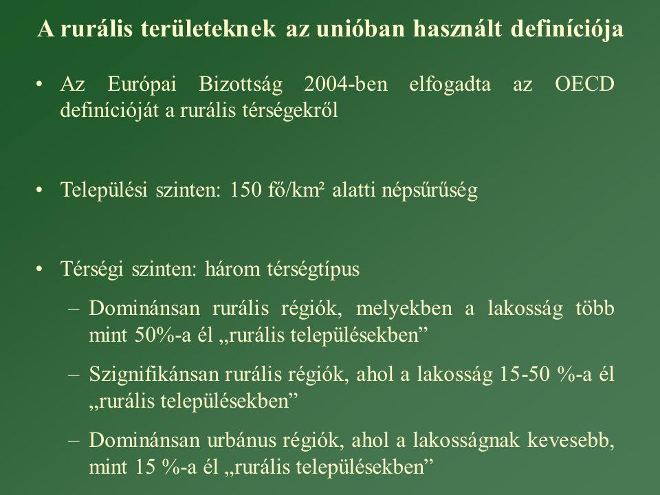 """•Az Európai Bizottság 2004-ben elfogadta az OECD definícióját a rurális térségekről •Települési szinten: 150 fő/km² alatti népsűrűség •Térségi szinten: három térségtípus –Dominánsan rurális régiók, melyekben a lakosság több mint 50%-a él """"rurális településekben –Szignifikánsan rurális régiók, ahol a lakosság 15-50 %-a él """"rurális településekben –Dominánsan urbánus régiók, ahol a lakosságnak kevesebb, mint 15 %-a él """"rurális településekben A rurális területeknek az unióban használt definíciója"""