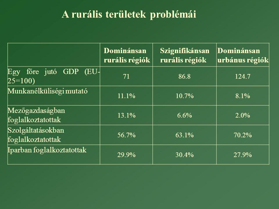 Dominánsan rurális régiók Szignifikánsan rurális régiók Dominánsan urbánus régiók Egy főre jutó GDP (EU- 25=100) 7186.8124.7 Munkanélküliségi mutató 11.1%10.7%8.1% Mezőgazdaságban foglalkoztatottak 13.1%6.6%2.0% Szolgáltatásokban foglalkoztatottak 56.7%63.1%70.2% Iparban foglalkoztatottak 29.9%30.4%27.9% A rurális területek problémái