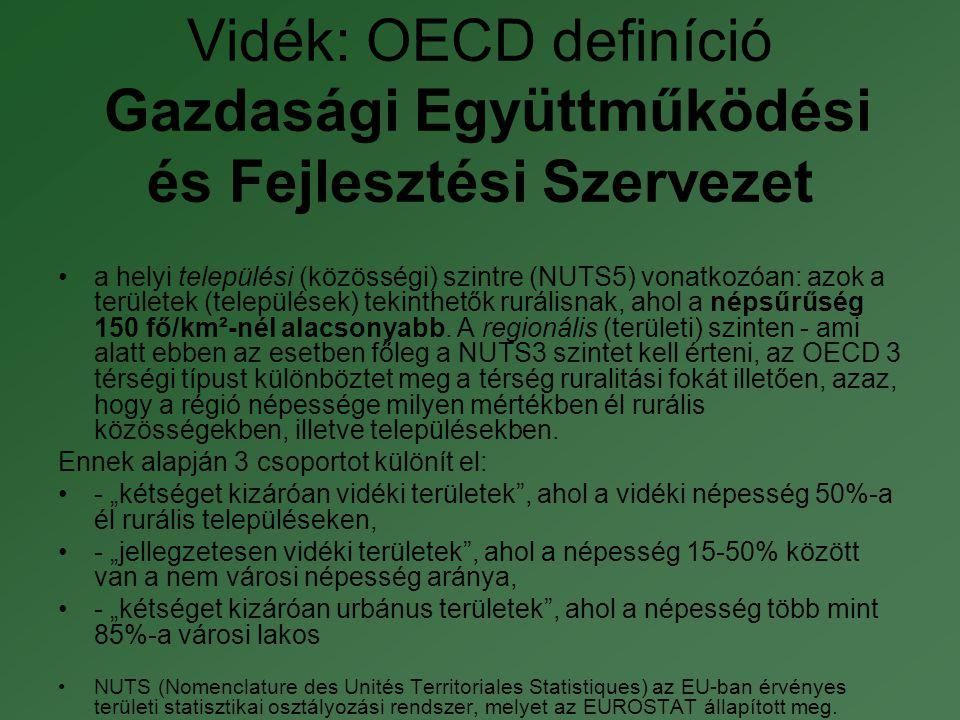 Vidék: OECD definíció Gazdasági Együttműködési és Fejlesztési Szervezet •a helyi települési (közösségi) szintre (NUTS5) vonatkozóan: azok a területek (települések) tekinthetők rurálisnak, ahol a népsűrűség 150 fő/km²-nél alacsonyabb.