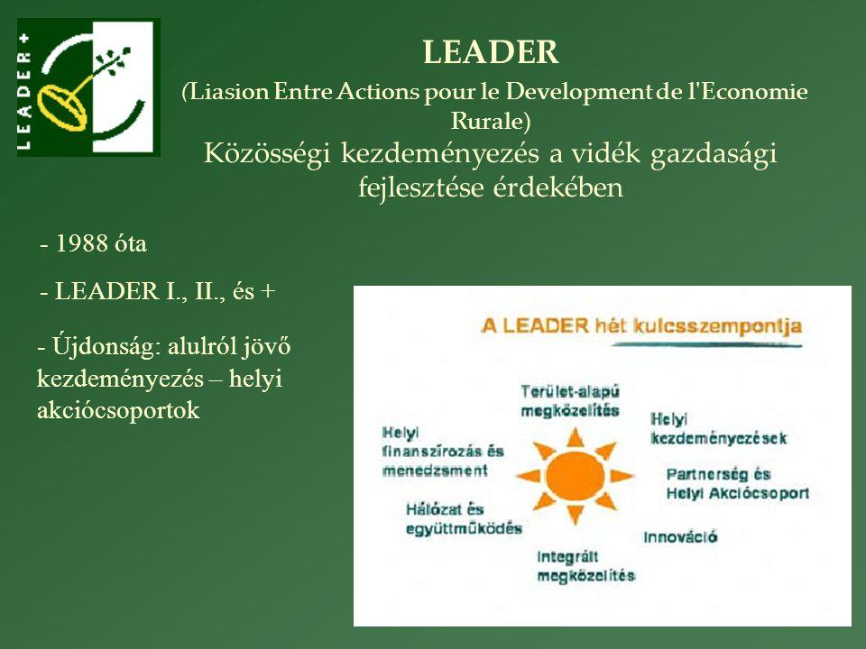 LEADER (Liasion Entre Actions pour le Development de l Economie Rurale) Közösségi kezdeményezés a vidék gazdasági fejlesztése érdekében - 1988 óta - LEADER I., II., és + - Újdonság: alulról jövő kezdeményezés – helyi akciócsoportok