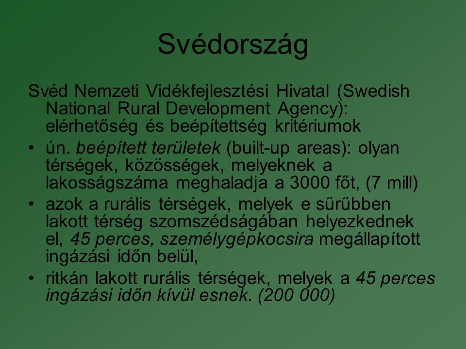 """Finnország •""""kölcsönhatásban lévő területek (a városokhoz közel fekvő rurális területek): nagyvárosok közelsége - foglalkoztatásra, helyi piacot nyújt a vállalkozások számára."""