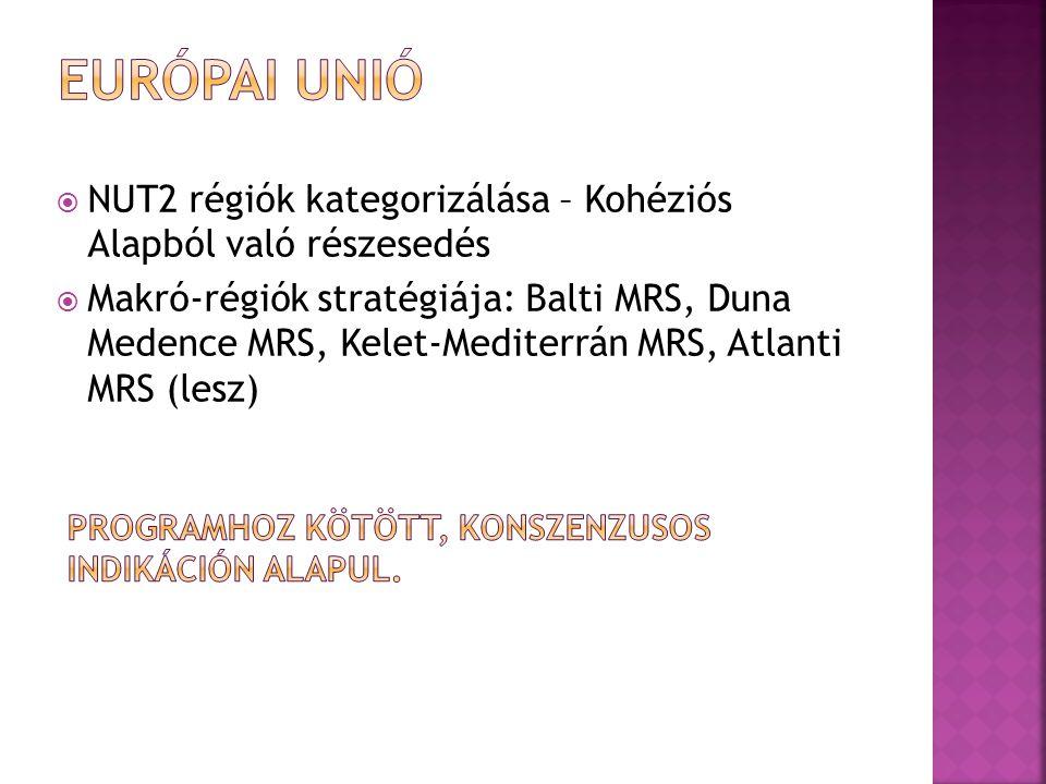  NUT2 régiók kategorizálása – Kohéziós Alapból való részesedés  Makró-régiók stratégiája: Balti MRS, Duna Medence MRS, Kelet-Mediterrán MRS, Atlanti MRS (lesz)