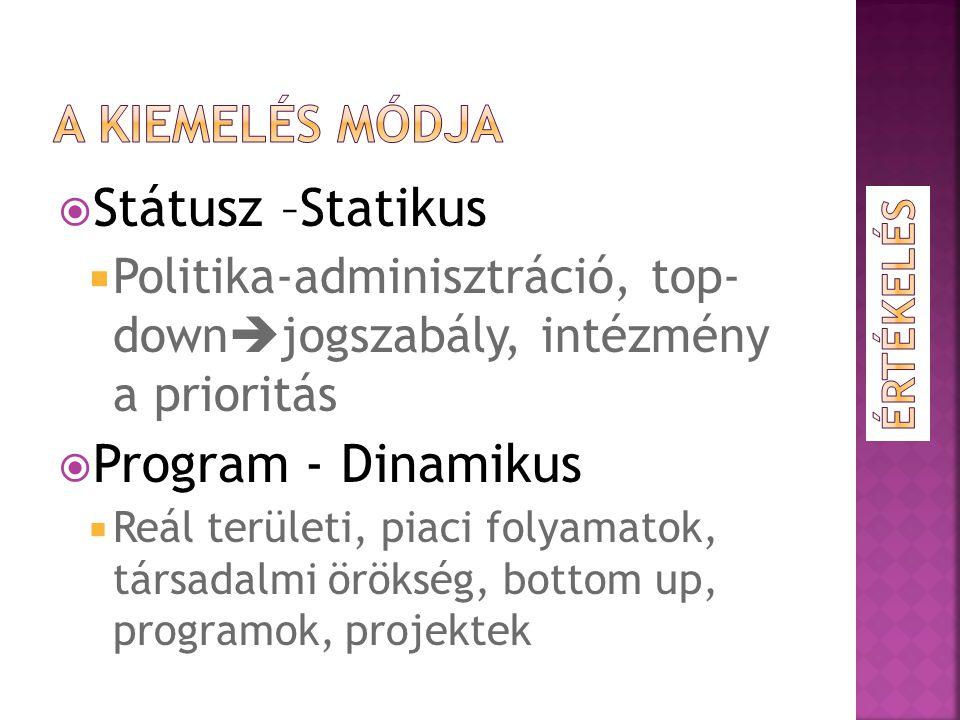  Státusz –Statikus  Politika-adminisztráció, top- down  jogszabály, intézmény a prioritás  Program - Dinamikus  Reál területi, piaci folyamatok, társadalmi örökség, bottom up, programok, projektek