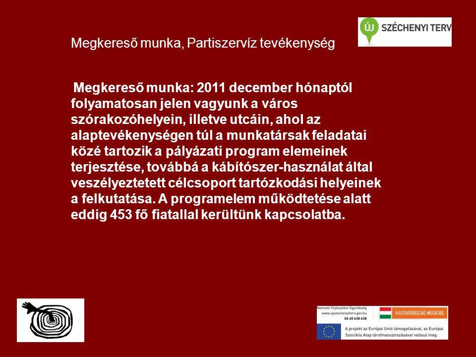 Megkereső munka, Partiszervíz tevékenység Megkereső munka: 2011 december hónaptól folyamatosan jelen vagyunk a város szórakozóhelyein, illetve utcáin, ahol az alaptevékenységen túl a munkatársak feladatai közé tartozik a pályázati program elemeinek terjesztése, továbbá a kábítószer-használat által veszélyeztetett célcsoport tartózkodási helyeinek a felkutatása.