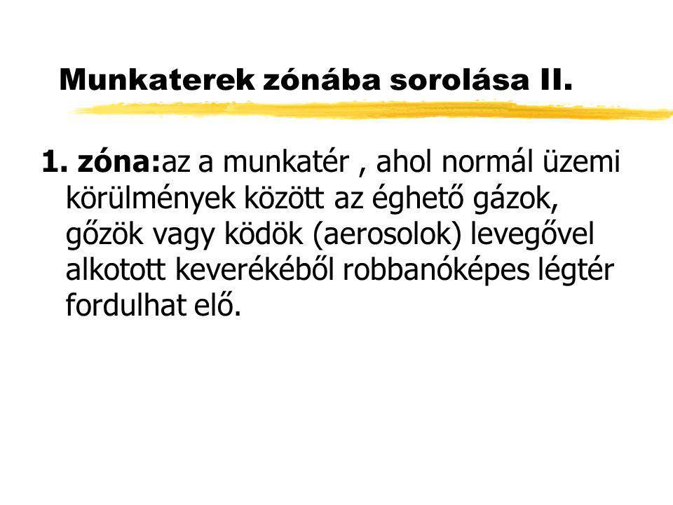 Munkaterek zónába sorolása II. 1. zóna:az a munkatér, ahol normál üzemi körülmények között az éghető gázok, gőzök vagy ködök (aerosolok) levegővel alk