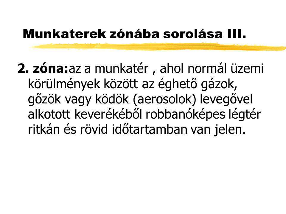 Munkaterek zónába sorolása III. 2. zóna:az a munkatér, ahol normál üzemi körülmények között az éghető gázok, gőzök vagy ködök (aerosolok) levegővel al