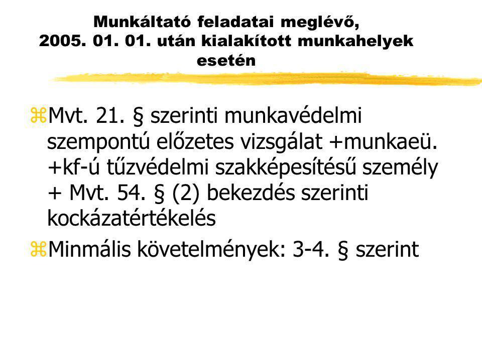 Munkáltató feladatai meglévő, 2005. 01. 01. után kialakított munkahelyek esetén zMvt. 21. § szerinti munkavédelmi szempontú előzetes vizsgálat +munkae