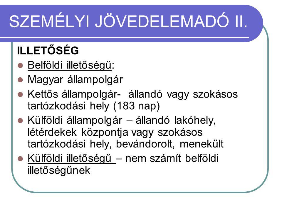 SZEMÉLYI JÖVEDELEMADÓ II. ILLETŐSÉG  Belföldi illetőségű:  Magyar állampolgár  Kettős állampolgár- állandó vagy szokásos tartózkodási hely (183 nap