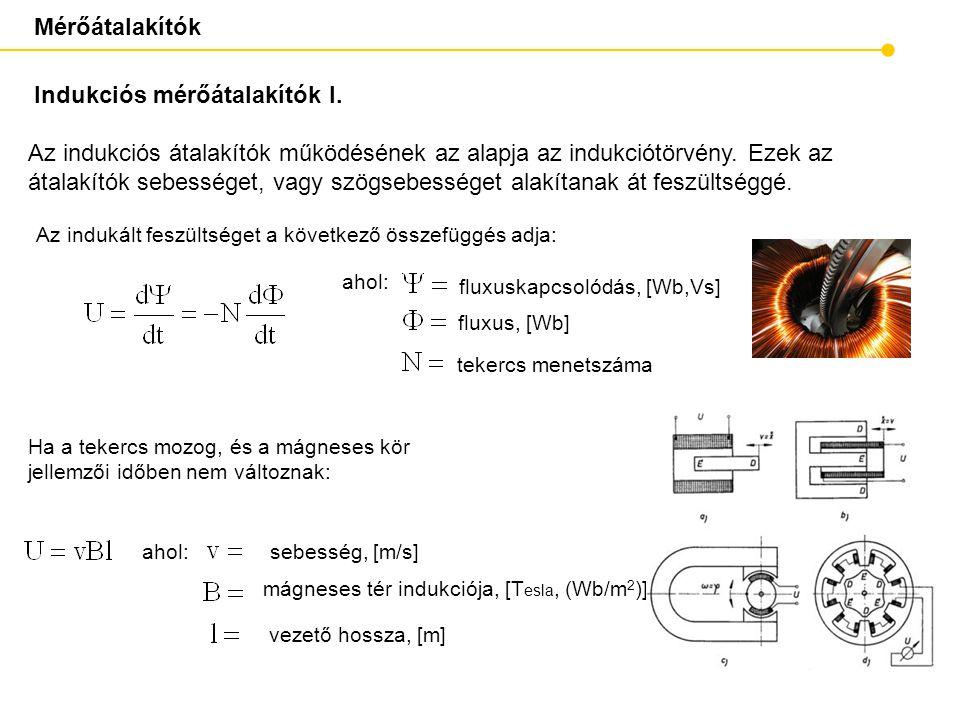 Mérőátalakítók Indukciós mérőátalakítók I. ahol: sebesség, [m/s ] mágneses tér indukciója, [T esla, (Wb/m 2 ) ] ahol: Ha a tekercs mozog, és a mágnese