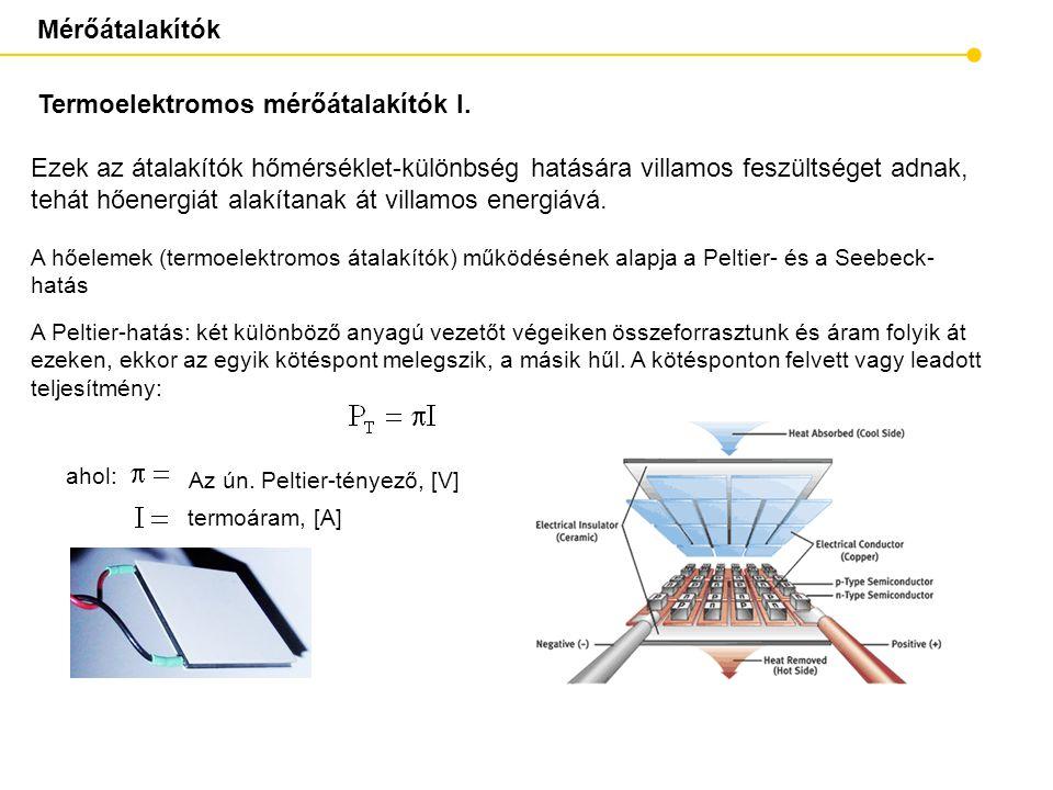 Mérőátalakítók Termoelektromos mérőátalakítók I. ahol: A hőelemek (termoelektromos átalakítók) működésének alapja a Peltier- és a Seebeck- hatás Az ún