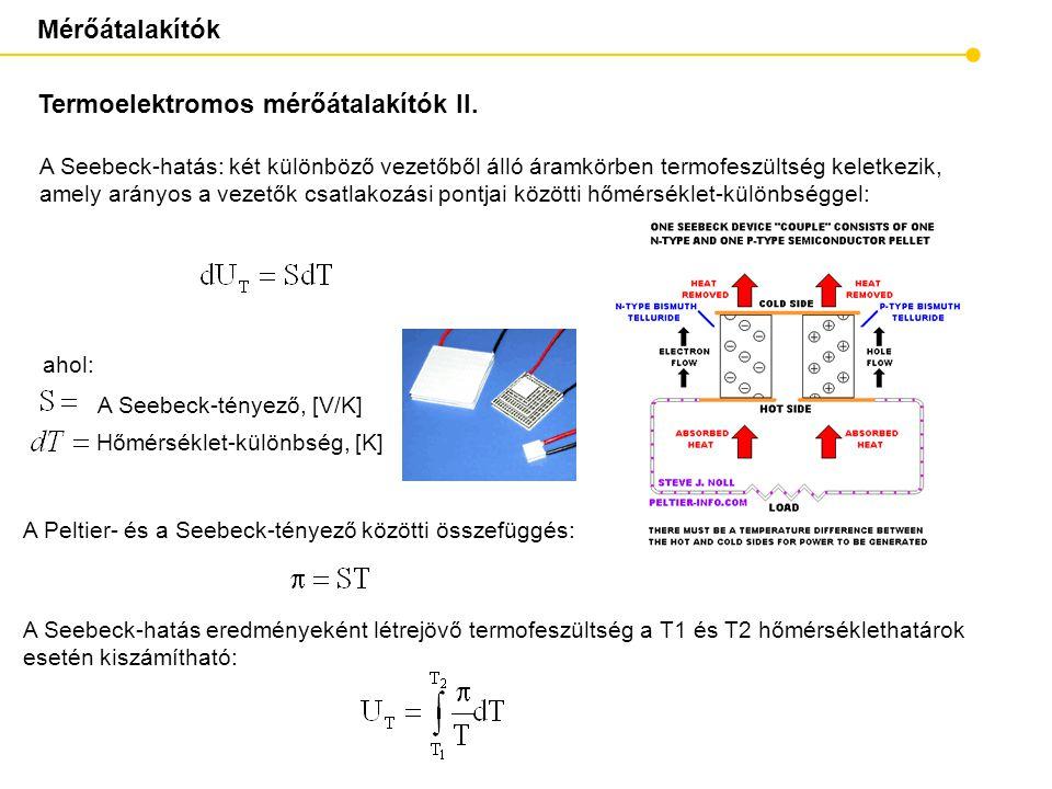 Mérőátalakítók Termoelektromos mérőátalakítók II. ahol: A Seebeck-tényező, [V/K ] Hőmérséklet-különbség, [K ] A Seebeck-hatás: két különböző vezetőből