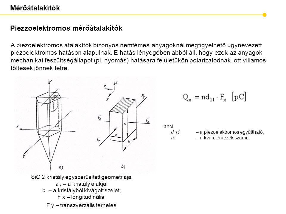 Mérőátalakítók Piezzoelektromos mérőátalakítók A piezoelektromos átalakítók bizonyos nemfémes anyagoknál megfigyelhető úgynevezett piezoelektromos hat