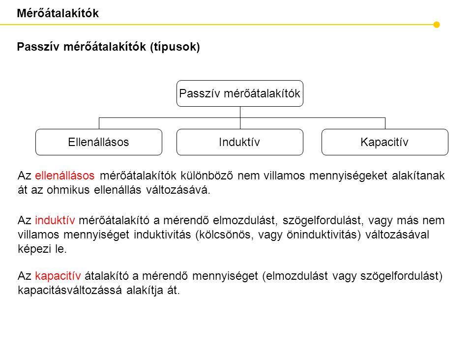 Mérőátalakítók Passzív mérőátalakítók (típusok) Az ellenállásos mérőátalakítók különböző nem villamos mennyiségeket alakítanak át az ohmikus ellenállá