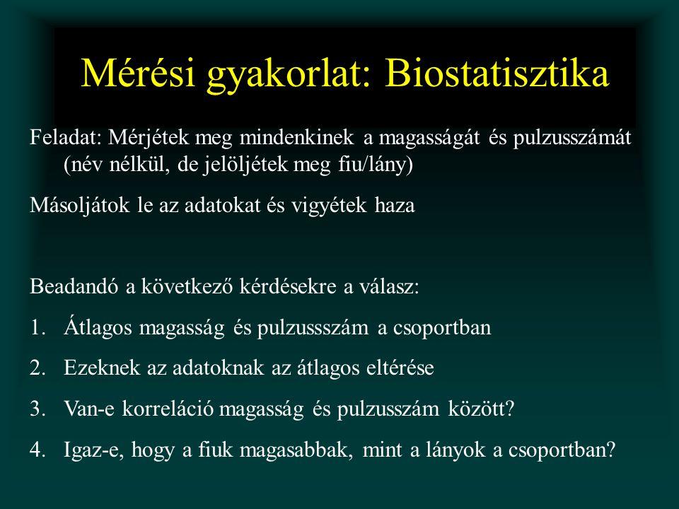 Mérési gyakorlat: Biostatisztika Feladat: Mérjétek meg mindenkinek a magasságát és pulzusszámát (név nélkül, de jelöljétek meg fiu/lány) Másoljátok le