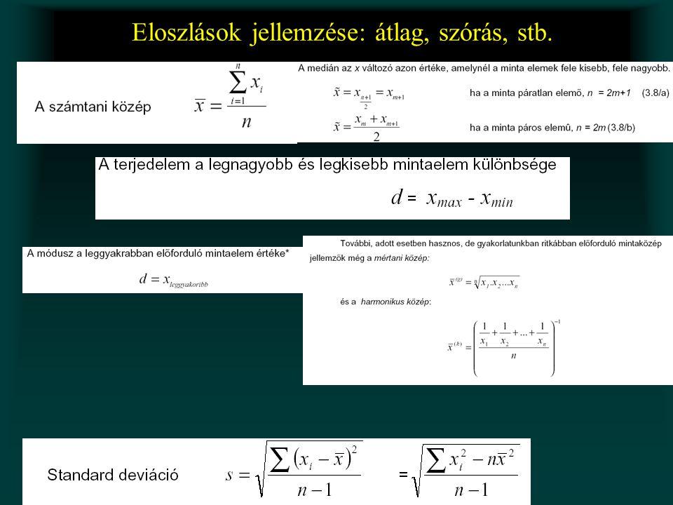 Az egyes mérési adatok viszonya •Korreláció •Lineáris regresszió •(egyenes illesztés)