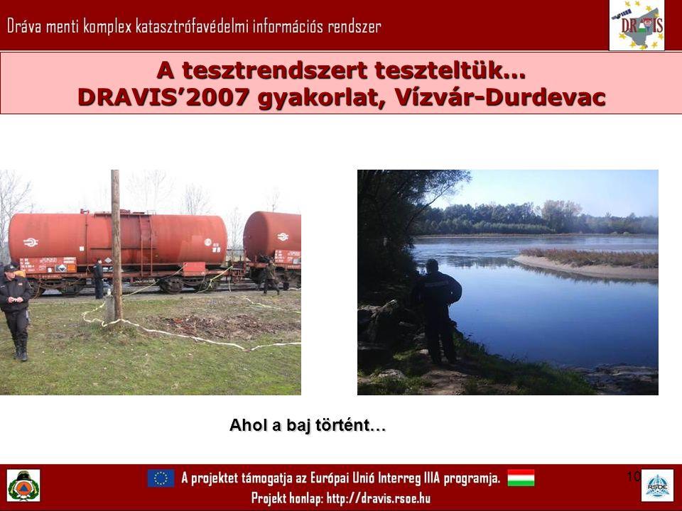 10 A tesztrendszert teszteltük… DRAVIS'2007 gyakorlat, Vízvár-Durdevac Ahol a baj történt…