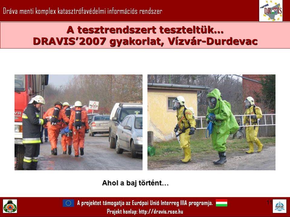11 A tesztrendszert teszteltük… DRAVIS'2007 gyakorlat, Vízvár-Durdevac Ahol a baj történt…