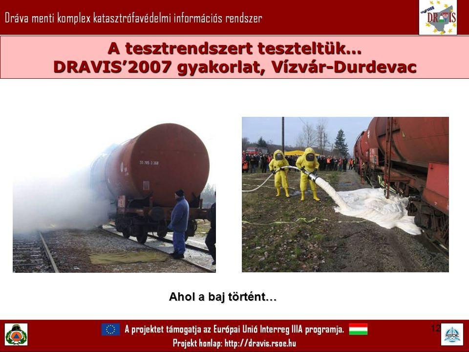 12 A tesztrendszert teszteltük… DRAVIS'2007 gyakorlat, Vízvár-Durdevac Ahol a baj történt…