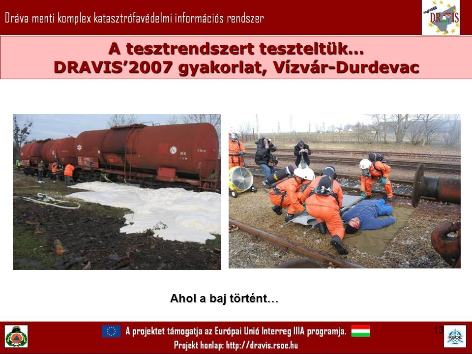 13 A tesztrendszert teszteltük… DRAVIS'2007 gyakorlat, Vízvár-Durdevac Ahol a baj történt…
